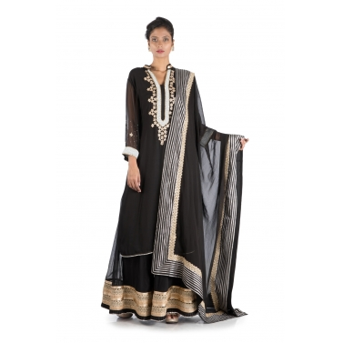 Black Long Suit & Sharara Set