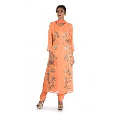 Hand Embroidered Orange Suit Set with a Dupatta