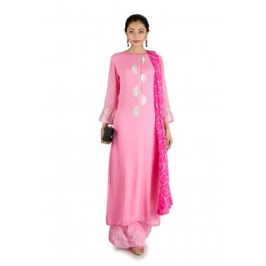 Pink Gota Work Suit Set with Palazzo Pants & Dupatta