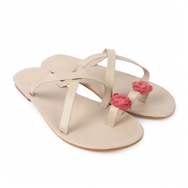 Beige Cross Slippers