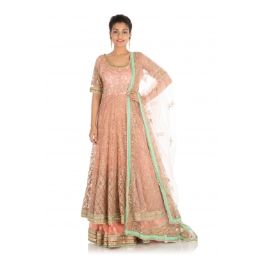 Full Hand Embroidered Pretty Peach Jacket Lehenga Set