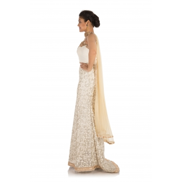 Snow White Hand Embroidered Lehenga Set