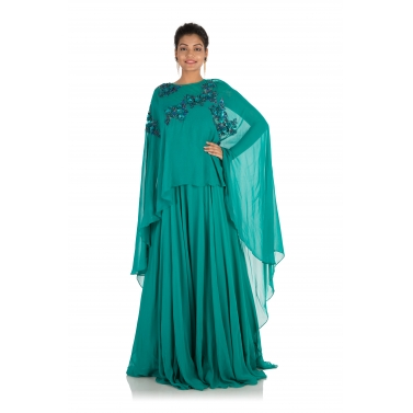 Hand Embroidered Pine Green Long Cape Gown