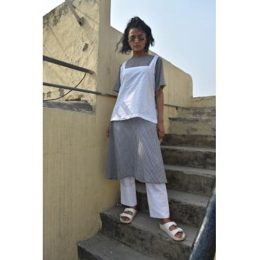 White Tunic Checkered Dress