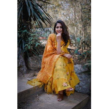 Floral mustard dress set