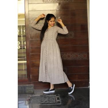 Grey Lining Block Midi Dress