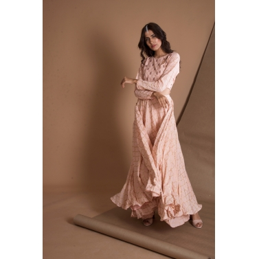 Peach Gold Printed Coutout Gown