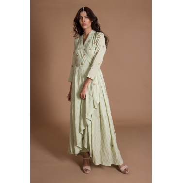 Mint Gold Printed Kurta