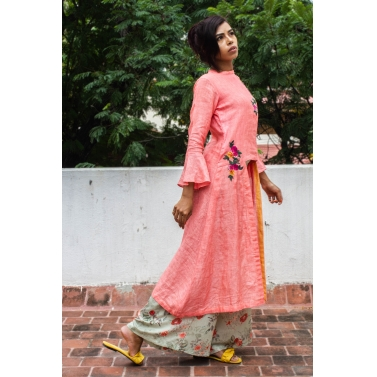 Linen Kurta With Floral Applique Work Without Palazzo