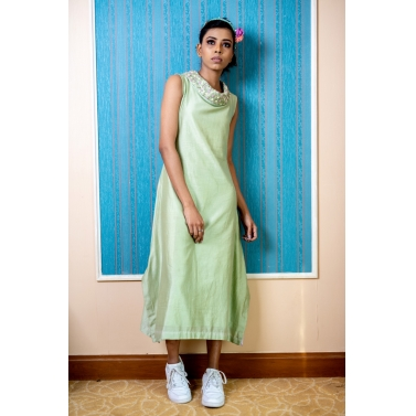 Cowl Neck Embroidered Indowestern Dress In Green