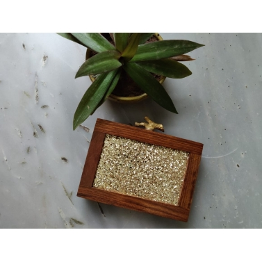 Wooden Gold Branch Clutch
