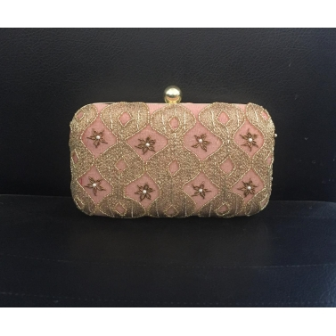 Peach Floral Zari Clutch