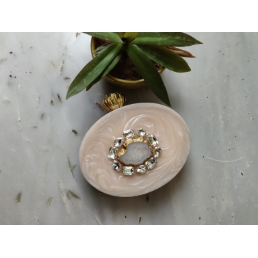 Off White Oval Lotus Stone Clutch