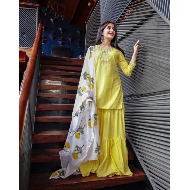 Yellow Poppy Sharara Set