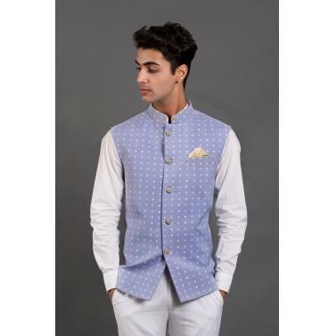 man/modi-jackets/powder-blue-bandhani-print-bundi