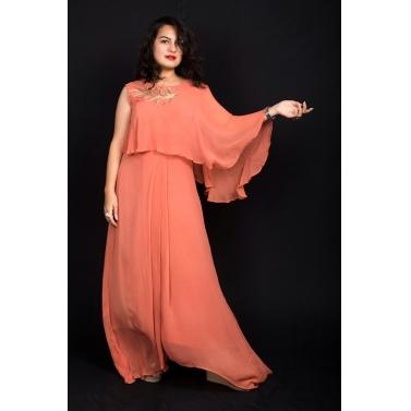 Orange Drape Gown
