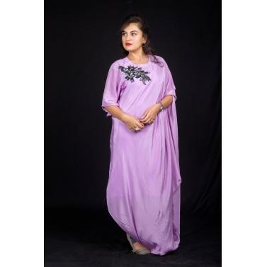 Purple cowl dress