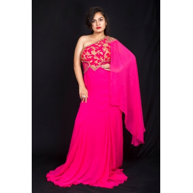 Pink Drape Saree