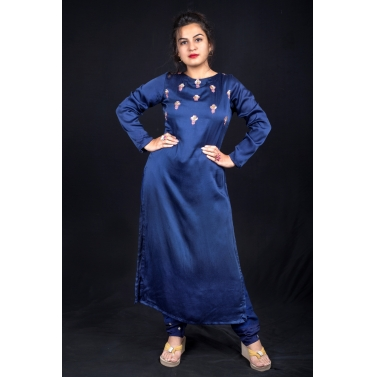 Blue straight kurta with pants