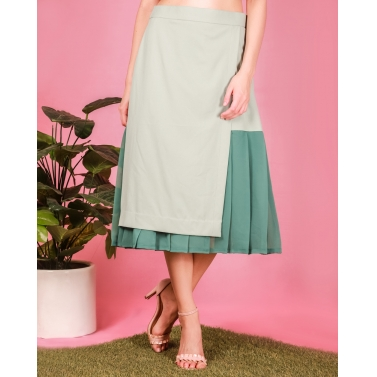 Misty green overlapped panelled skirt