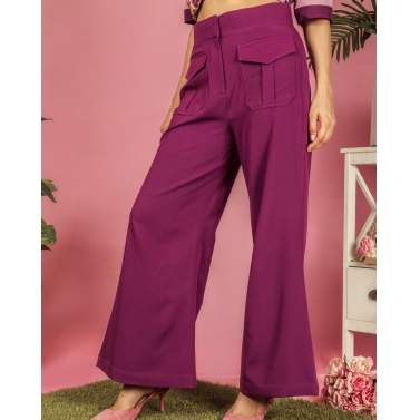 Blackcurrant patch pocket pants