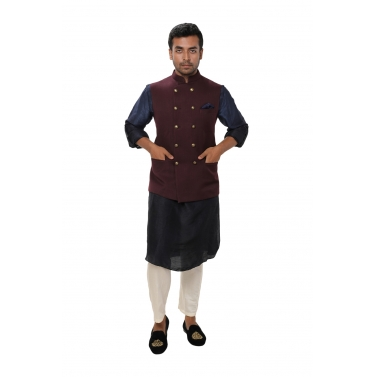 Navy Kurta Set paired with a Wine Double Breasted Jacket