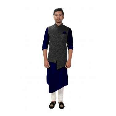 Blue Front Slit Kurta Set paired with a Black Paisley Self Embroidered Asymmetrical Jacket