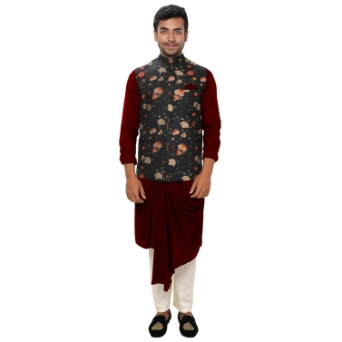 Maroon Asymmetrical Front Draped Kurta Set paired with a Floral Printed Stitchlines Jacket