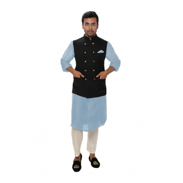 designer-mens-wear/sky-blue-kurta-set-paired-with-a-black-double-breasted-jacket