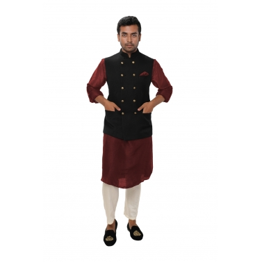 designer-mens-wear/maroon-kurta-set-paired-with-a-black-double-breasted-jacket