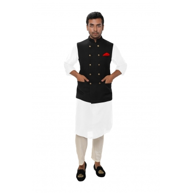designer-mens-wear/white-kurta-set-paired-with-a-black-double-breasted-jacket