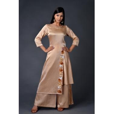 Gaji Silk asymmetric kurta paired with matching pallazos