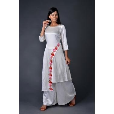 Gaji Silk asymmetric kurta paired with matching pallazos1