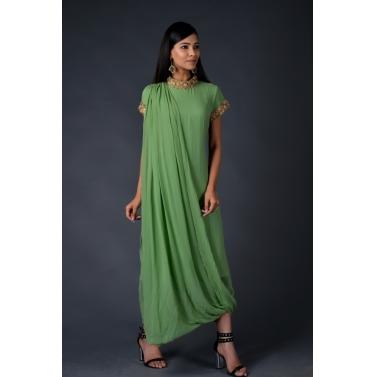 Green georgette drape gown