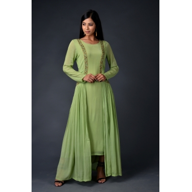 Green chinon chiffon gown with attached jacket