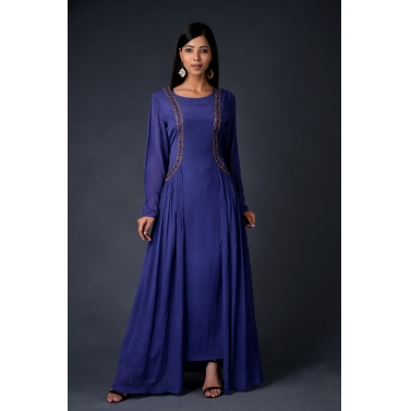 Blue chinon chiffon gown with attached jacket