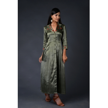 Olive green gaji silk trench coat with matching pants