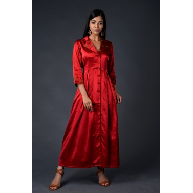 Red gaji silk trench coat with matching pants