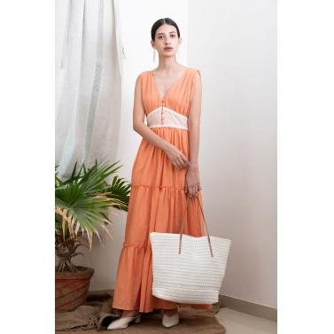 Peach Tiered Summer Dress