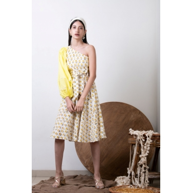 Hand Block Print Yellow One Shoulder Dress