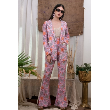 Print Suit With Fish Net Slip Top