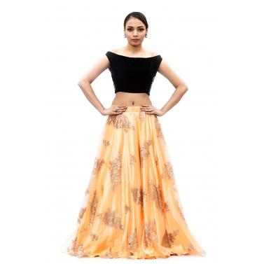 designer-womens-wear/peach-and-black-lehanga
