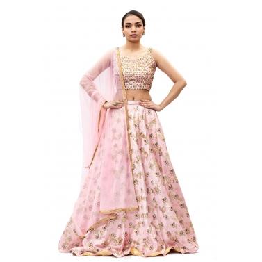 Pink-Satin-Embroidered-Lehanga