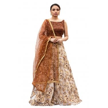 Cream-And-Brown-Embroidered-Lehanga