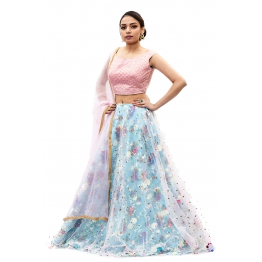 Pink-And-Blue-Floral-Organza-Lehanga