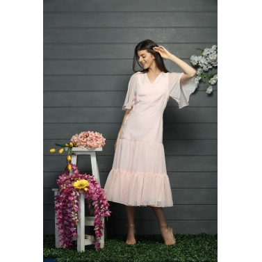 Three tier gathered calf length summer dress
