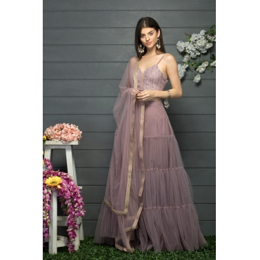 Tier gathered lehenga and blouse set with a dupatta