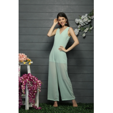 Jumpsuit with a deep V neck back