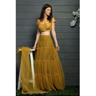 Tier gathered lehenga and blouse set with a dupatta1