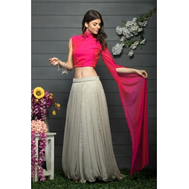 One shoulder exaggerated sleeve blouse and flared lehenga set
